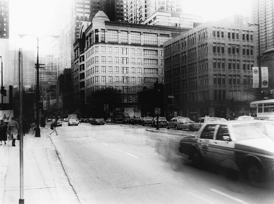 "Luc Saalfeld: From the cycle ""Chicago - Dream is over"", manual photo-graphics, 30x42 cm, 1993/2000"